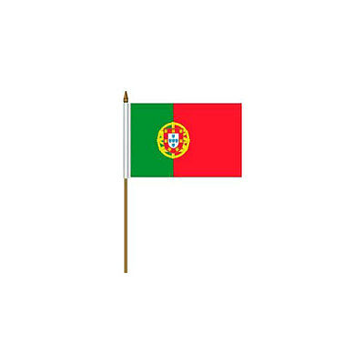 """Portugal Country Small 4 X 6  Mini Stick Flag With 10"""" Plastic Pole"""