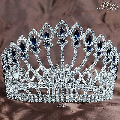 """Large Full Round Crowns 5"""" Clear Blue Rhinestones Tiaras Pageant Party Costumes"""