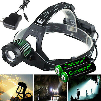 90000LM Zoomable Tactical Headlamp T6 LED Head Light +18650 Battery+ Charger USA