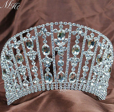 Royal Tiaras Crowns Large Rhinestones Crystal Wedding Bridal Pageant Party Prom