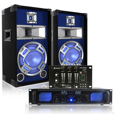 "Bedroom DJ 10"" Disco Party Speakers with Lights + Mixer and Amplifier 400W"