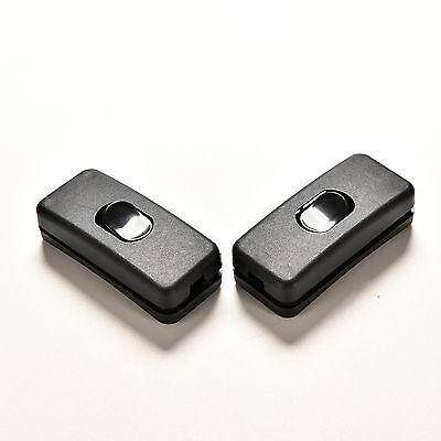 2 pcs AC 250V/125V 2A Black Plastic ON/OFF Button In Line Cord Switches CE10 7HK