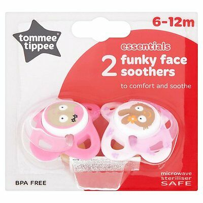 Tommee Tippee Essential Basics Funky Face Soothers 6-12m for Girls - 43322630