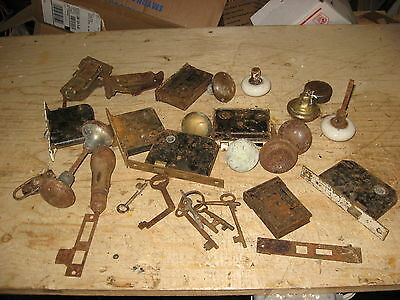 Lot of Vintage Door Locks Keys Knobs Assemblies etc