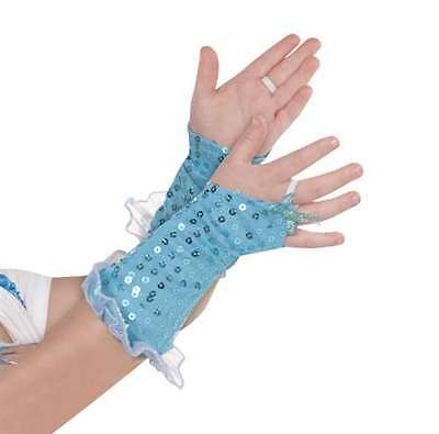 Aqua Blue Fairy Girls Glovelettes Sequin Fingerless Gloves Child Mermaid Dance
