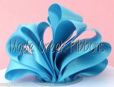 """5yd of Turquoise 1//4/"""" Double Face Satin Ribbon 1//4/"""" x 5 yards neatly wound"""