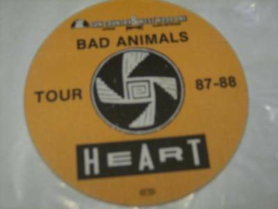 Heart Bad Animals Tour Backstage Pass 1987/1988