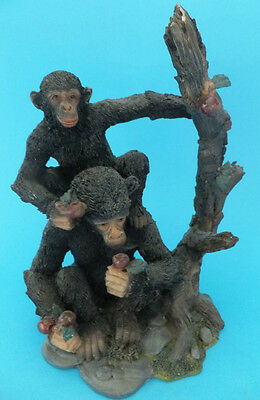 Chimpanzee Ornament Collectable Resin Figure 2 Chimps On Tree