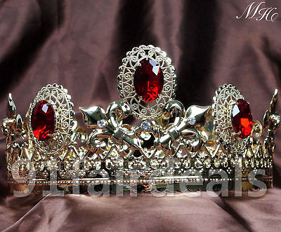 Round King Queen Crowns Crystal Tiaras Pageant Costumes Wedding Hair Accessories