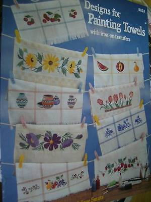 2 Books -Designs For Painting Towels & Kitchen Towels Iron-On Transfers Fruits,