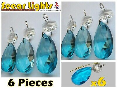 Chandelier Cut Glass Crystals Turquoise Oval Droplets Christmas Tree Decorations