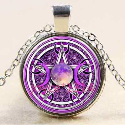Green Moon Goddess photo Cabochon Glass Tibet silver Chain Pendant Necklace