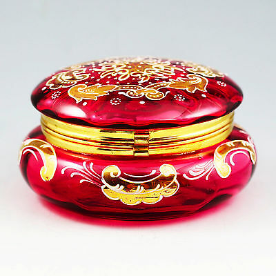 Antique Bohemian Moser Cranberry Enameled Glass Trinket Box, Hinged Lid, Casket