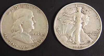 Walking Liberty and Franklin Half Dollar Lot, 90% Silver Coins $1 Face Value