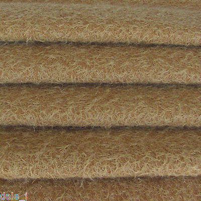 """1/6 yd 300S/CM Honey Tan INTERCAL 1/2"""" Ultra-Sparse Curly Matted Mohair Fabric"""