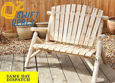NEW Outdoor Two Seat Adirondack Bench Patio Garden Timber Furniture