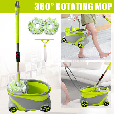 360° Spinning Rotating SpIN Floor Mop & Bucket Set + 2 Microfibre Cleaning Head