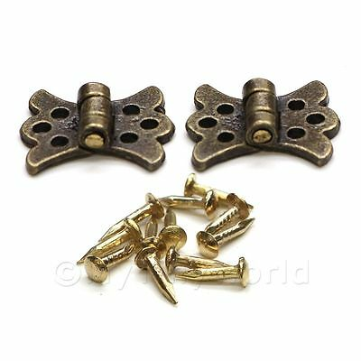 2x Dolls House Miniature Ornate Brass Butterfly Hinges And 12 Screws