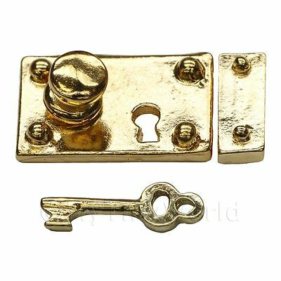 Dolls House Miniature 1:12th Scale Brass Box Lock And Key
