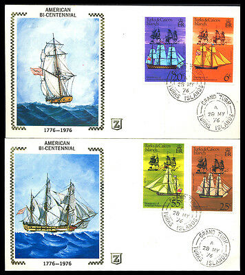 1976 Turks & Caicos BICENTENIAL SAILING SHIP TWO Covers S14