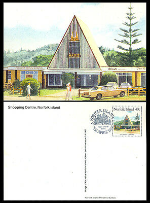 1987 Norfolk Island SHOPPING CENTRE Postcard S16