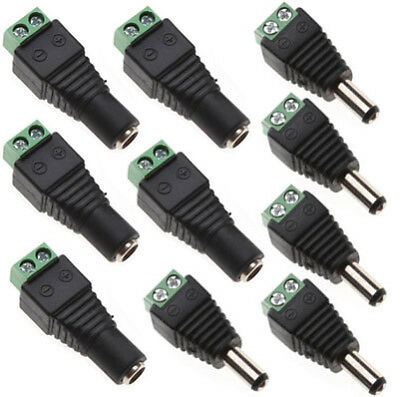 10pcs 12V Male + Female 2.1x5.5mm DC Power Plug Jack Adapter Connector for CCTV