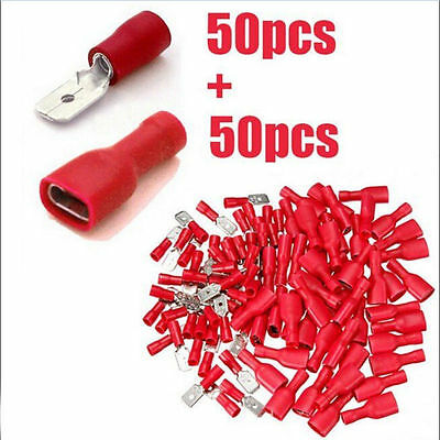 100Pcs Female&Male Spade Insulated Connectors Crimp Electrical Wire Terminal kit