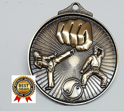 Martial Arts  MEDAL,TROPHY,AWARD,50mm Antique Gold ,FREE RIBBON, FREE ENGRAVING.
