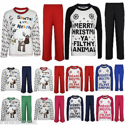 "Kids Girls Boys ""SANTAS LITTLE HELPER"" Christmas Pyjamas And YA FILTHY PJ'S 1-8"