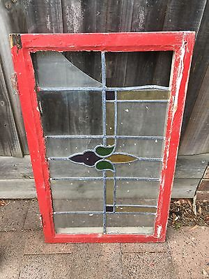 Antique Old English Leaded Stained Glass Window #1