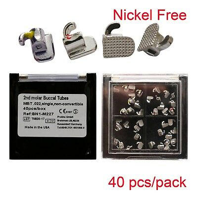 40pc Dental Orthodontic Nickel Free Bondable Buccal Tubes Mini MBT 022 2nd Molar