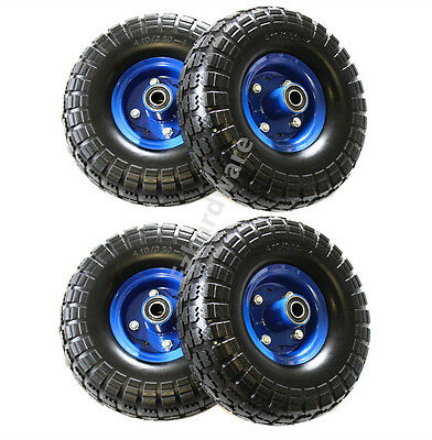"""4x 10""""Puncher Proof Solid Rubber Wheels Tyre Tire Flat Free 16mm Hand Trolley"""