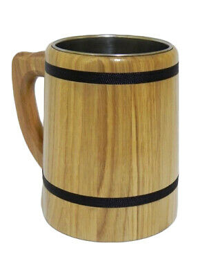 Wooden Oak Beer Mug Cup Tankard Very Solid Father's Day Gift 0.5l Brown /M02