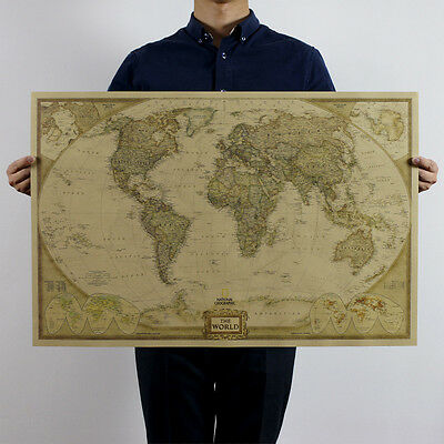 Antique Vintage Style Retro Poster Log The World Map Decor Giant of the Atlas