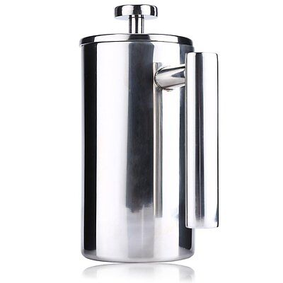 1000ML French Press Coffee Maker Stainless Steel Double Wall Brushed Cafetiere