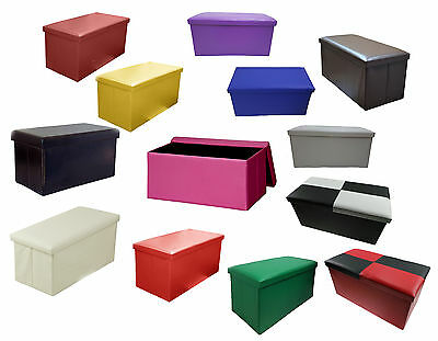 Large Double Folding Storage Faux Leather Storage Ottoman Chest Seat Stool Box