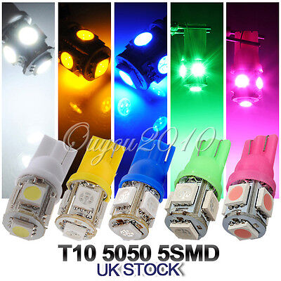 10x T10 501 W5W 5 SMD 5050 LED Car Side Wedge Tail Light Interior Number Bulbs