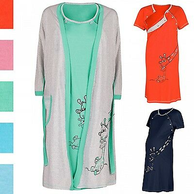 Happy Mama Women's Maternity Hospital Gown Robe Nightie Set Labour & Birth. 773p