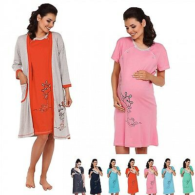 Zeta Ville -Maternity Women's Nursing Nightdress Robe Set Labour Hospital - 773c