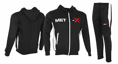 BODYBUILDING MMA GYM HOODY HARDCORE GYM CLOTHING HOODED TOP Full TRACKSUIT BLK