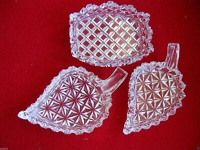 3 CUT CRYSTAL SMALL open  DISHES assorted SHAPES