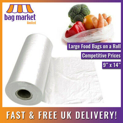 """500 x Natural Clear HD Polythene Bags On A Roll   9"""" x 14""""   Fruit/Veg/Food/Meat"""