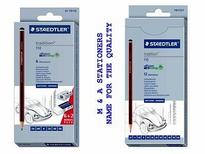 Staedtler Tradition 110 Artists Pencils Pack Of 6 / 12 For Sketching Drawing