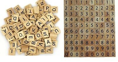 PICK & MIX WOOD SCRABBLE TILES  LETTERS And Numbers from 1-1000