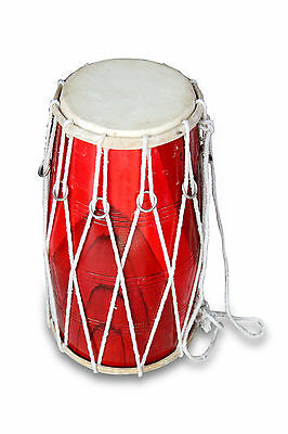 Handmade Rope Tuned Indian Mango Wood Musical Dholak  Bhajan Kirtan Use 0127