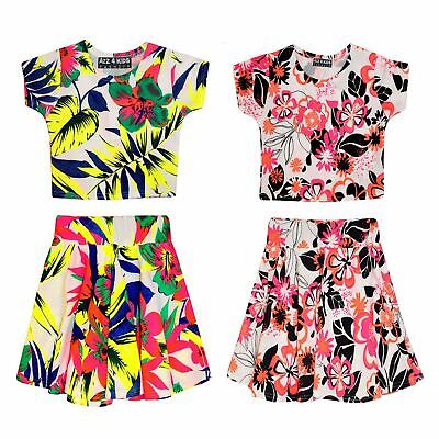 Kids Girls Floral Tropical Stylish Crop Top & Fashion Skater Skirt Set 7-13 Year