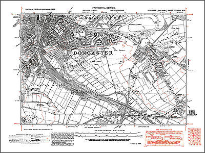 N Repro. Doncaster /& Bentley Yorkshire 1938 Old Map 72