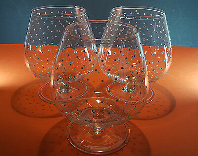 3 Very Large White Polka Dot Crystal Brandy Snifters Cognac Glasses
