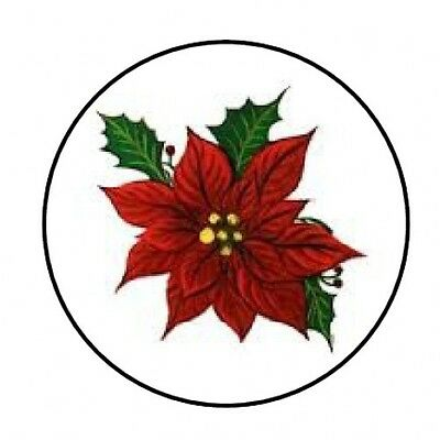 "48 Christmas Poinsettia Envelope Seals Labels Stickers 1.2"" Round"