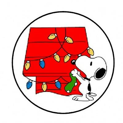 "48 Snoopy Christmas Envelope Seals Labels Stickers 1.2"" Round"